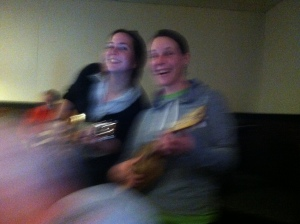 Jami & Amy got up to try their hand with a ukulele.  They'll be back!